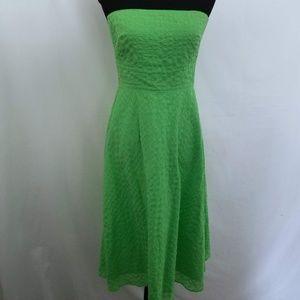 J Crew Green Deco Dot Strapless Cotton Dress